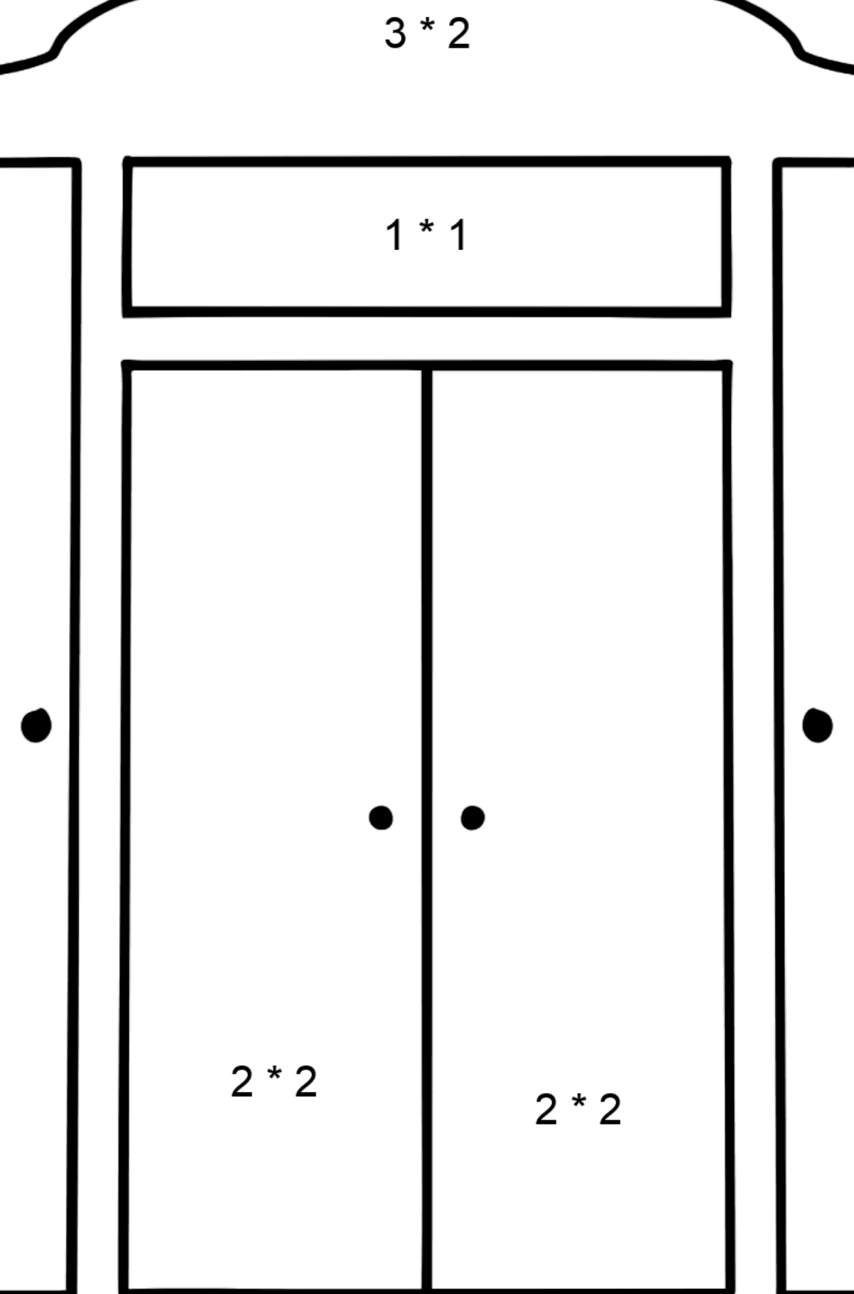 Wardrobe coloring page - Math Coloring - Multiplication for Kids