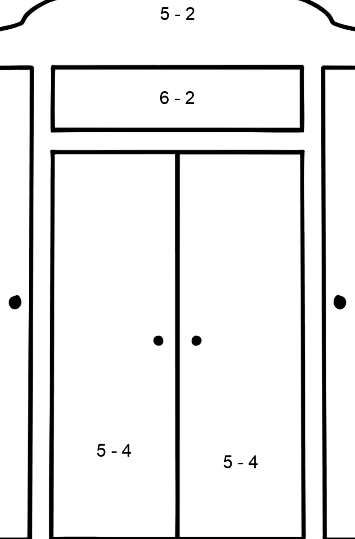 Wardrobe coloring page - Math Coloring - Subtraction for Kids