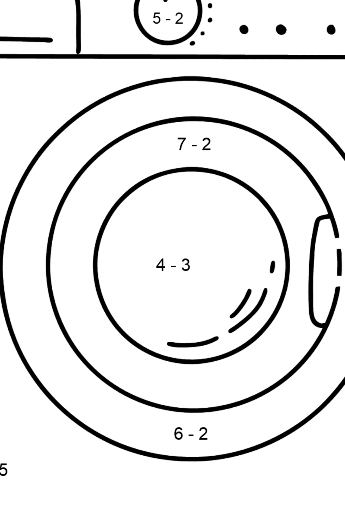 Dishwashe coloring page - Math Coloring - Subtraction for Kids