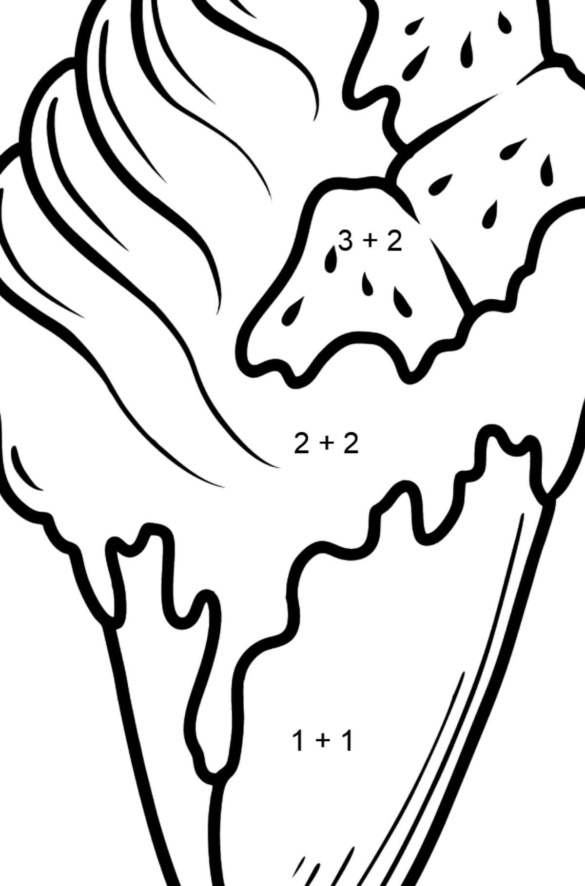 Banana Ice Cream and Jam Cone coloring page - Math Coloring - Addition for Kids