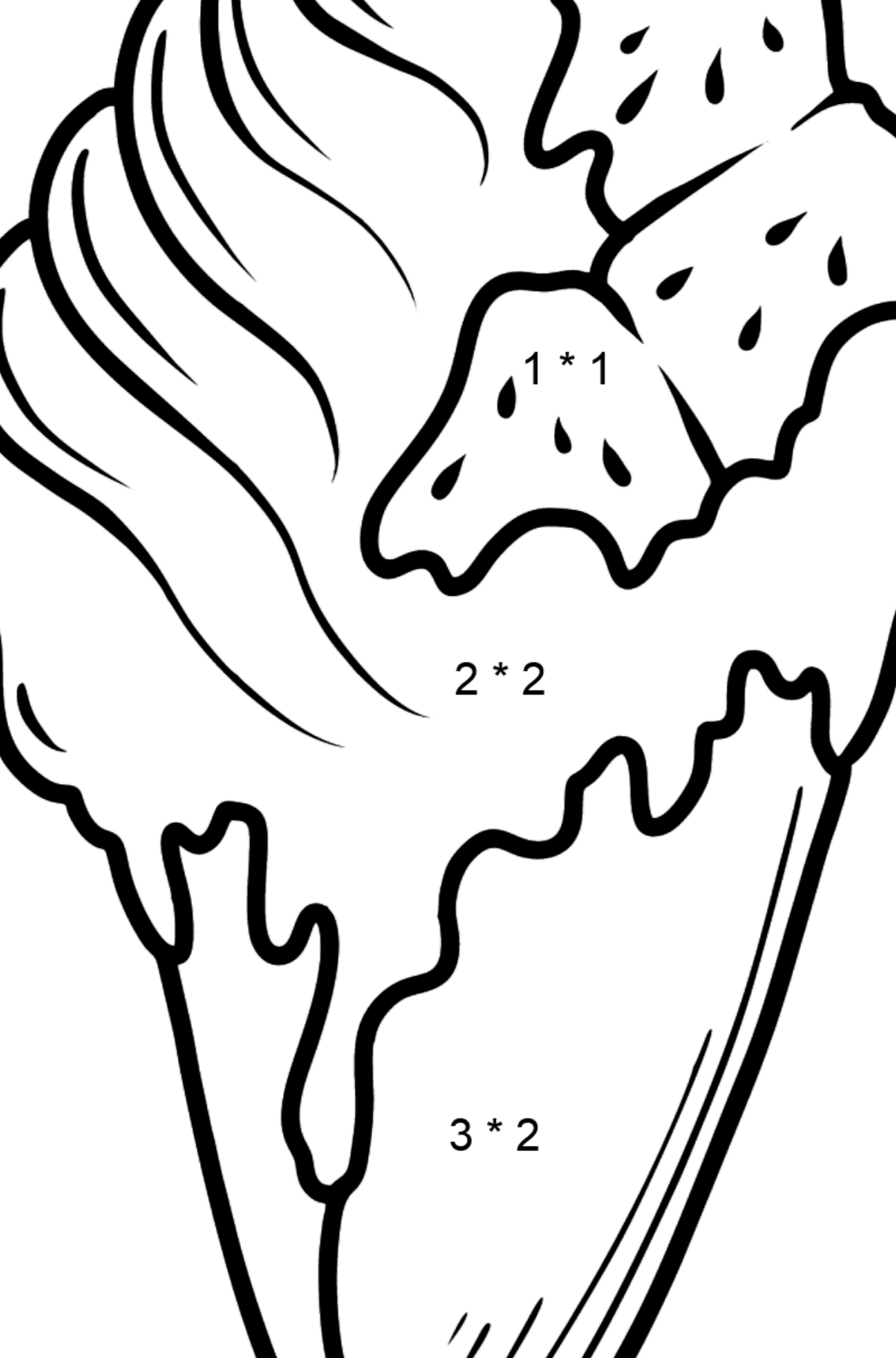 Banana Ice Cream and Jam Cone coloring page - Math Coloring - Multiplication for Kids