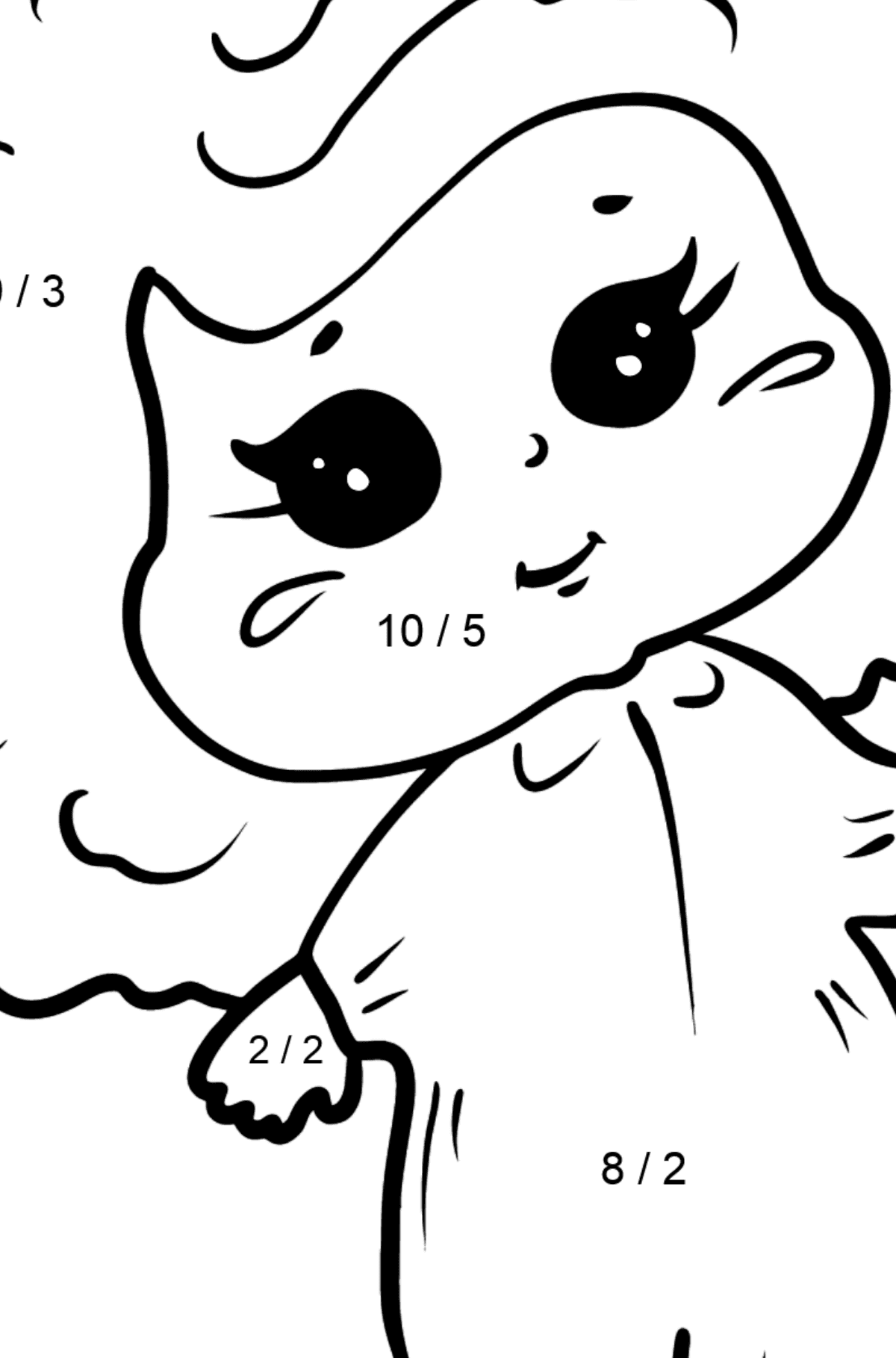 Girl and Ice Cream coloring page - Math Coloring - Division for Kids