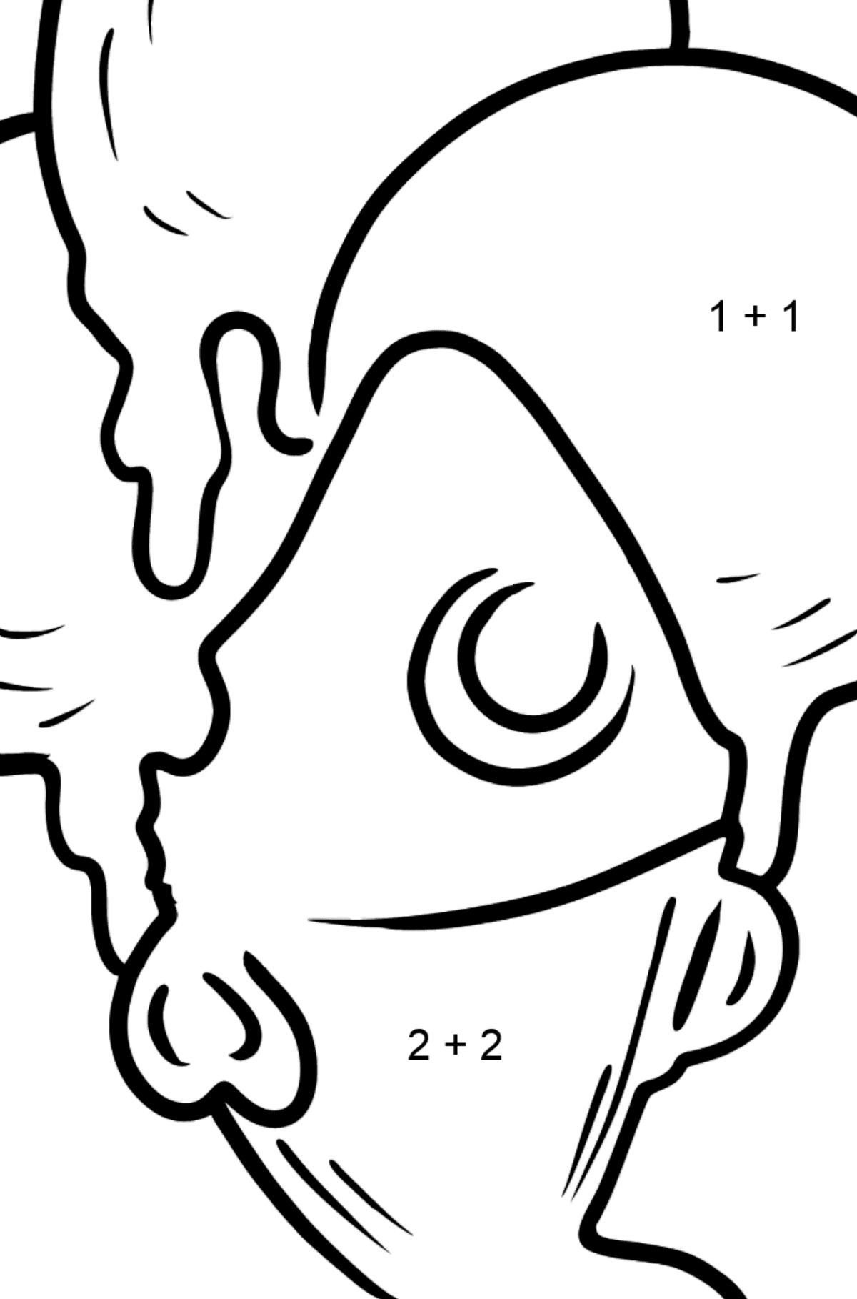 Bubble Gum Ice Cream coloring page - Math Coloring - Addition for Kids