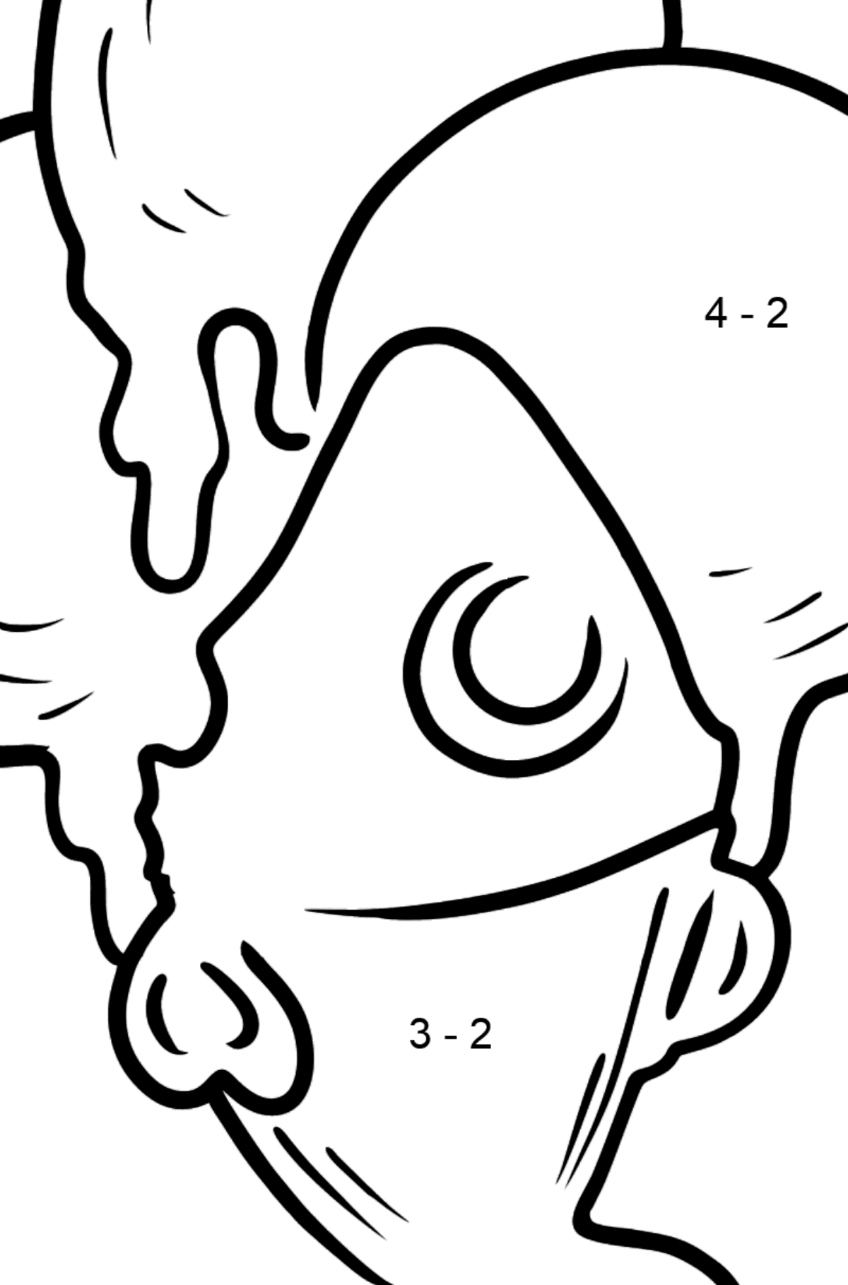 Bubble Gum Ice Cream coloring page - Math Coloring - Subtraction for Kids