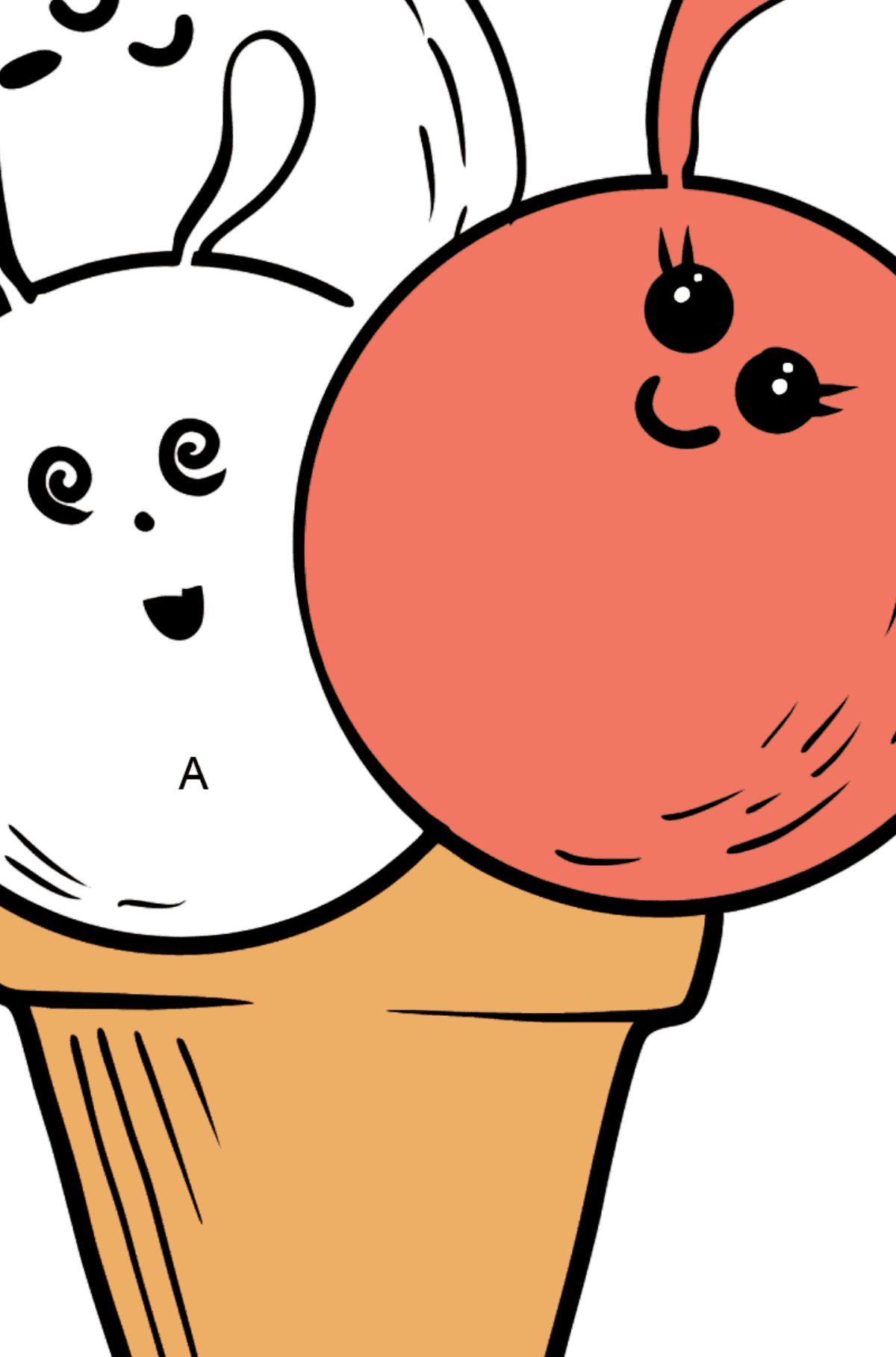 Kawaii Ice Cream - Apple and Raspberry coloring page - Coloring by Letters for Kids