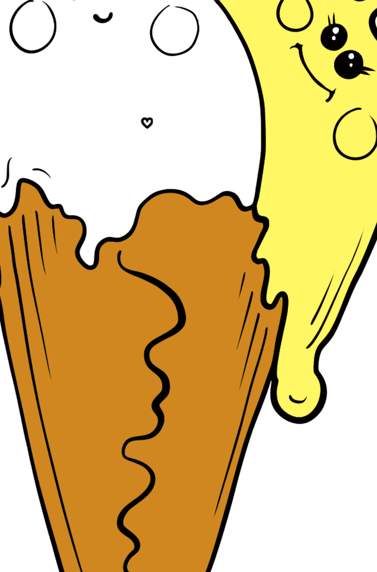 Coloring page - Kawaii Ice Cream (Banana and Strawberry) - Coloring by Geometric Shapes for Kids