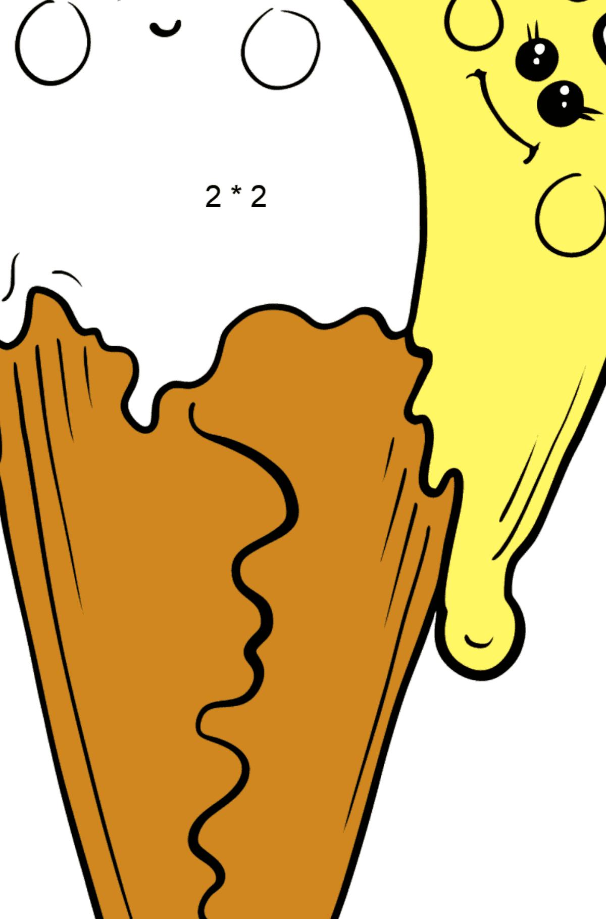 Раскраска кавайное мороженое - банан и клубника - Математическая Раскраска - Умножение для Детей