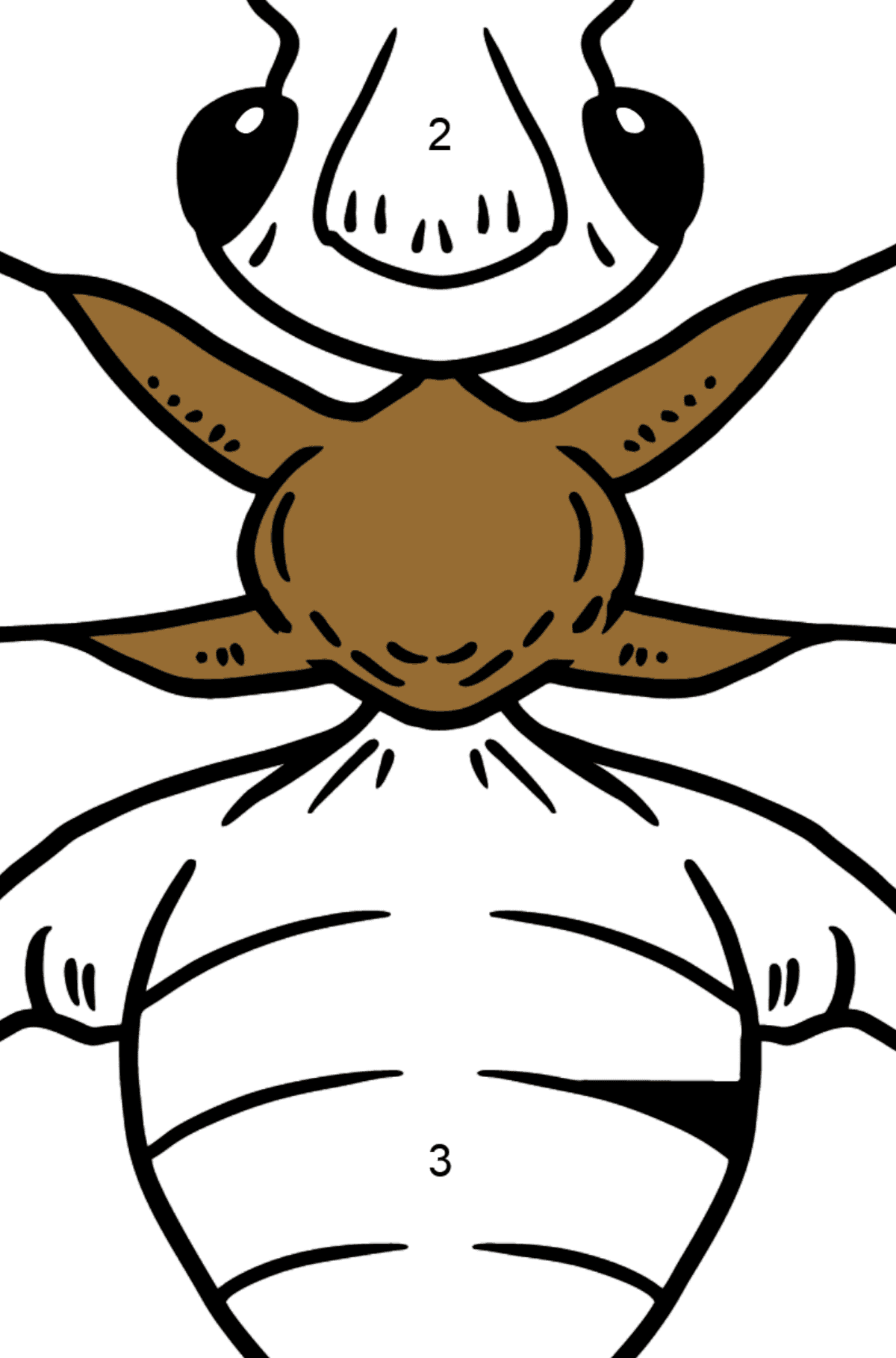 Ant coloring page - Coloring by Numbers for Kids