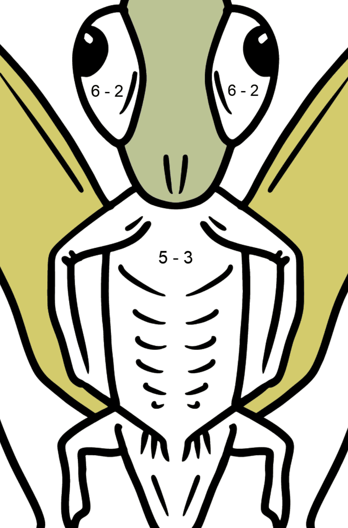 Grasshopper coloring page - Math Coloring - Subtraction for Kids
