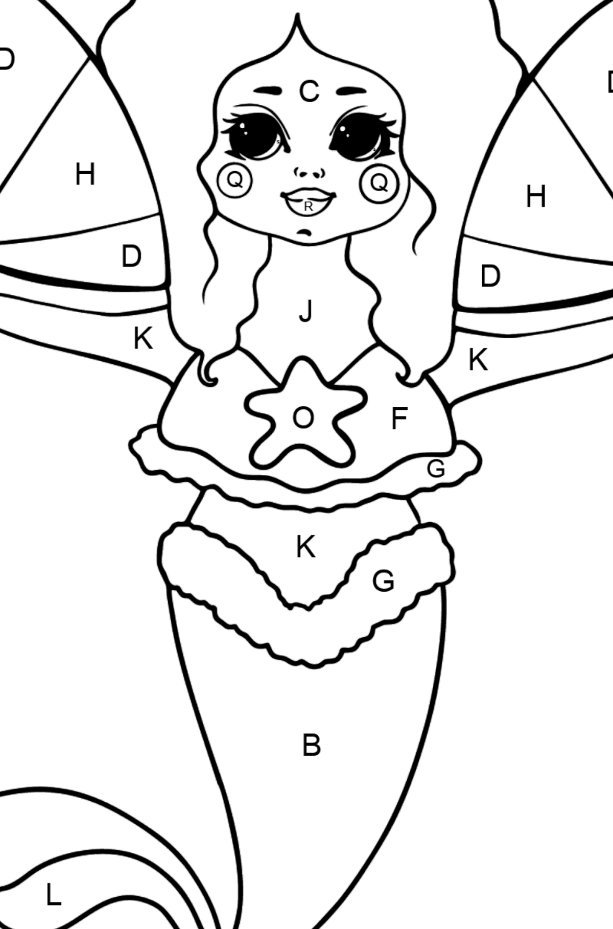 Mermaid and Two Fans coloring page - Coloring by Letters for Kids