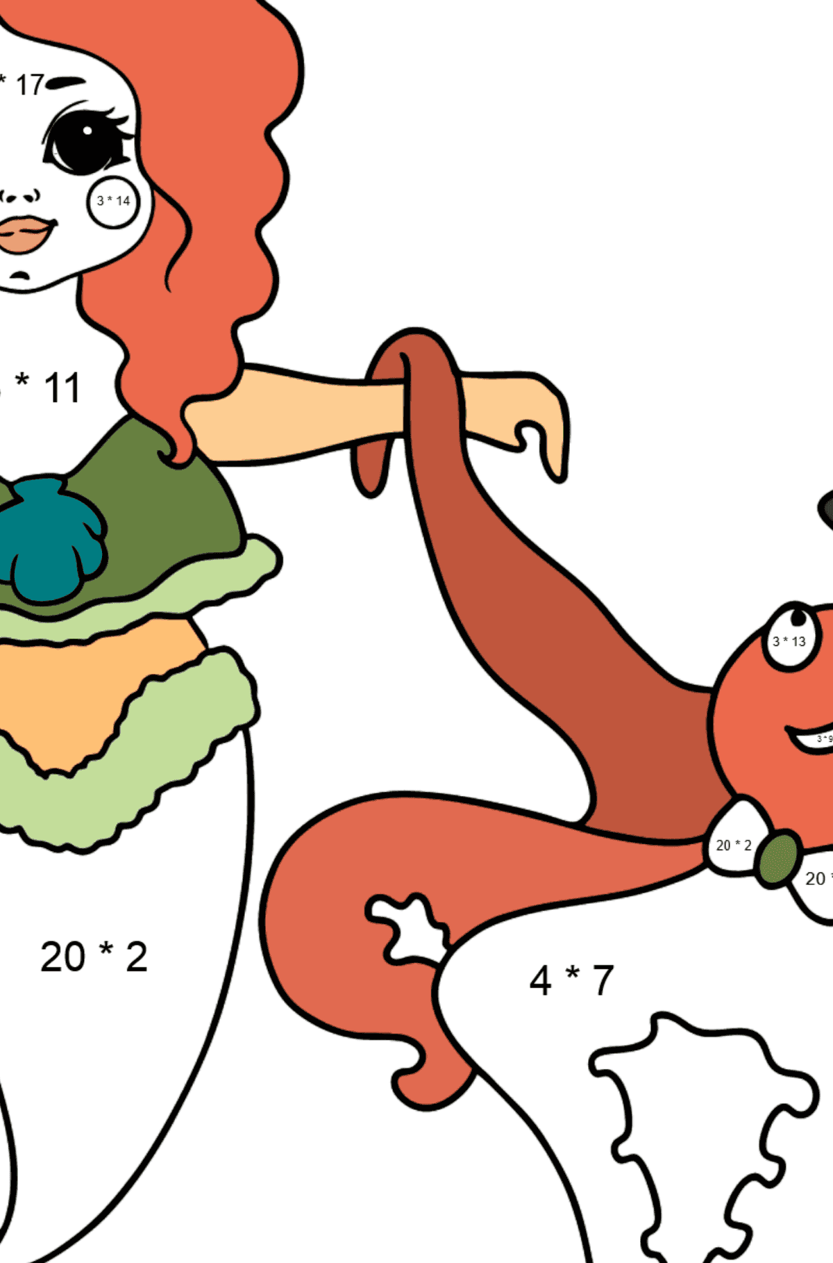 Mermaid and Octopus coloring page - Math Coloring - Multiplication for Kids