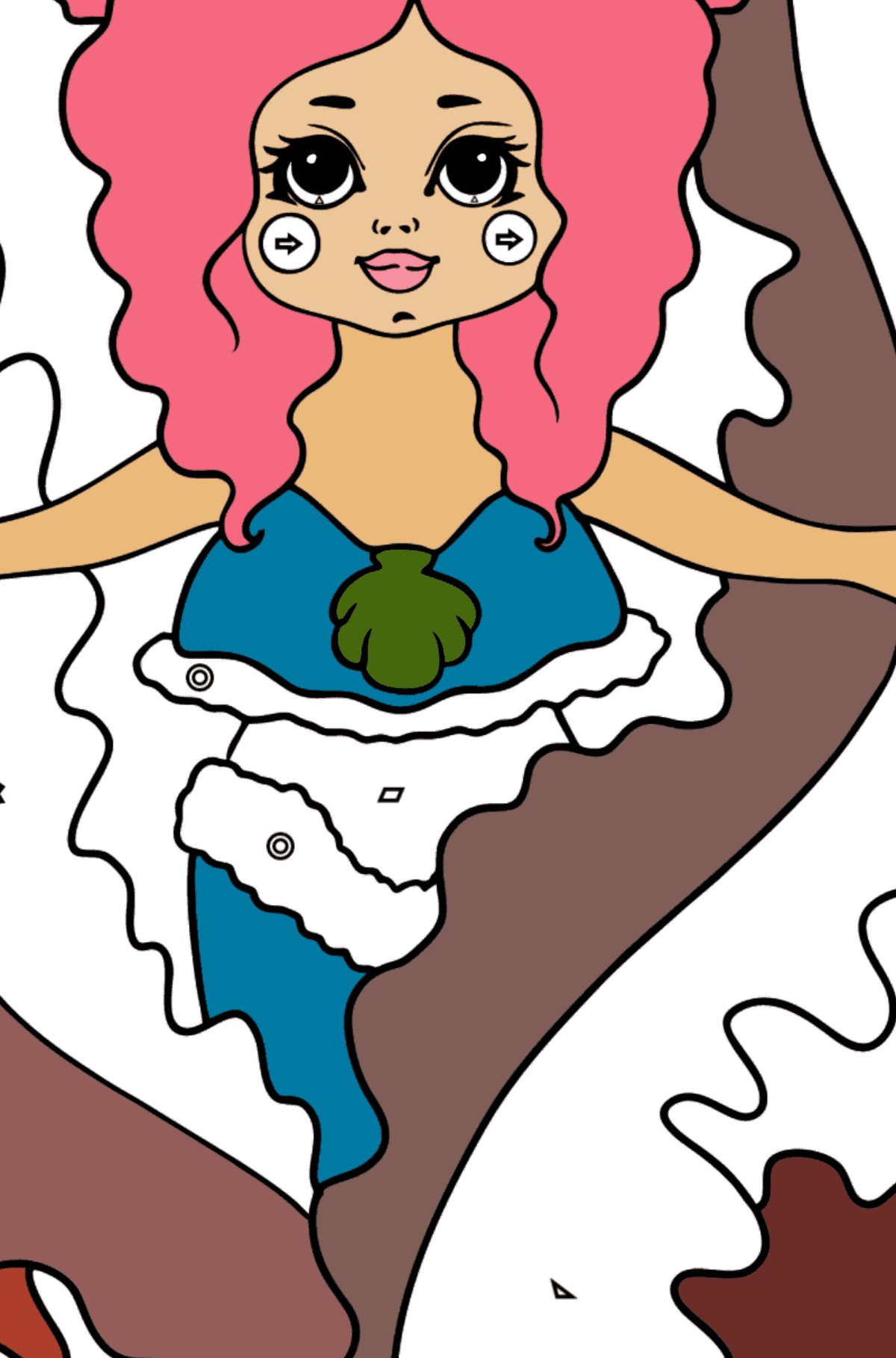 Mermaid and Red Algae coloring page - Coloring by Geometric Shapes for Kids