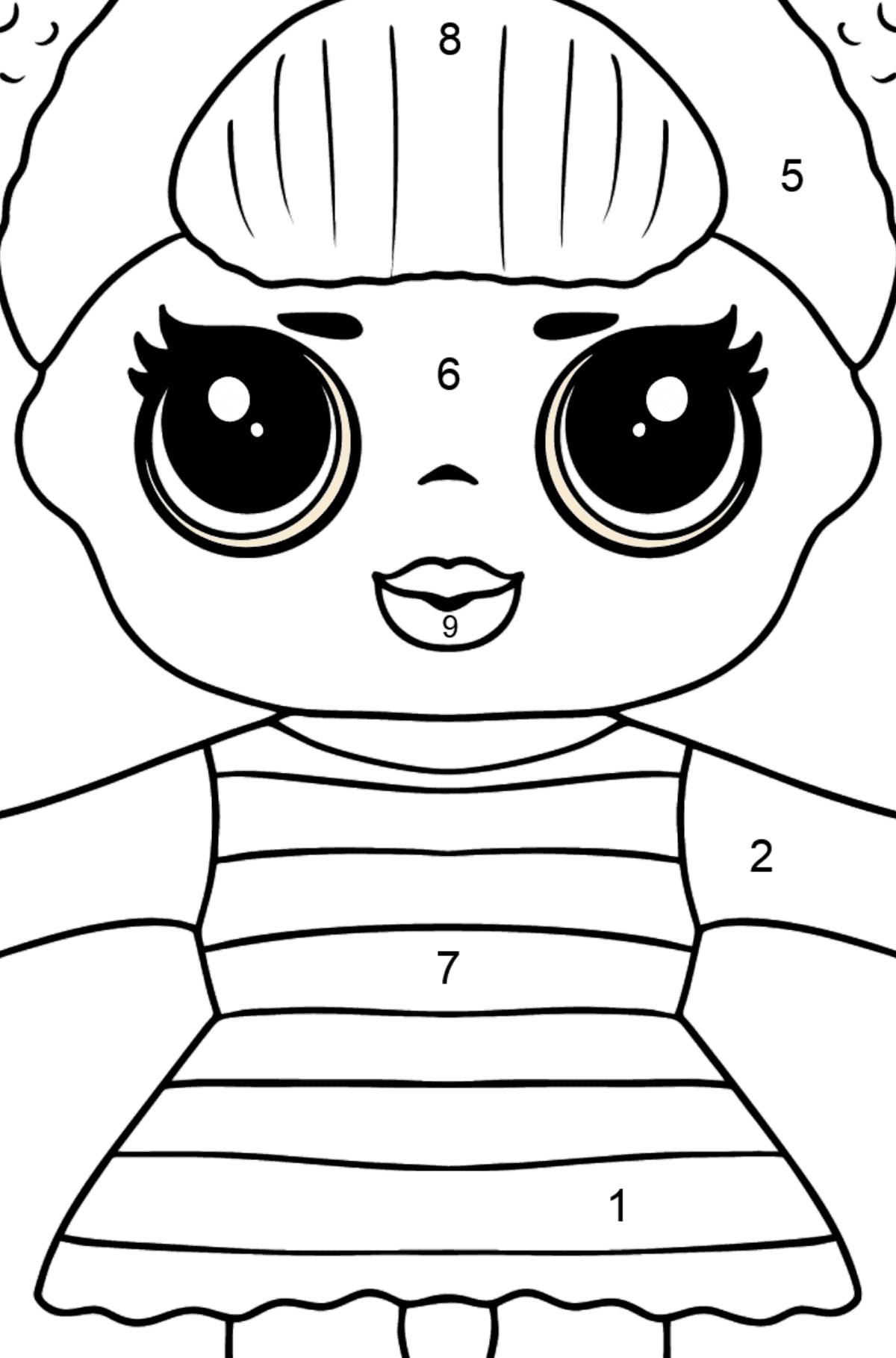 Desenho de Boneca L.O.L. Queen Bee para colorir - Colorir por Números para Crianças