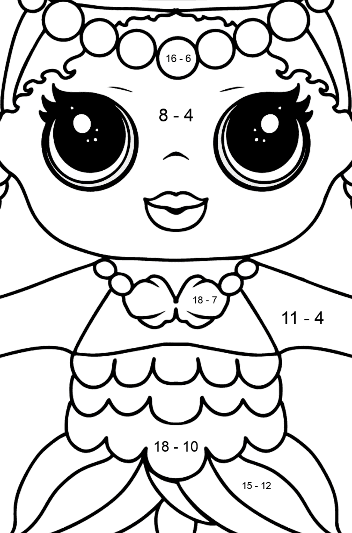 L.O.L. Surprise Doll Merbaby - Math Coloring - Subtraction for Kids
