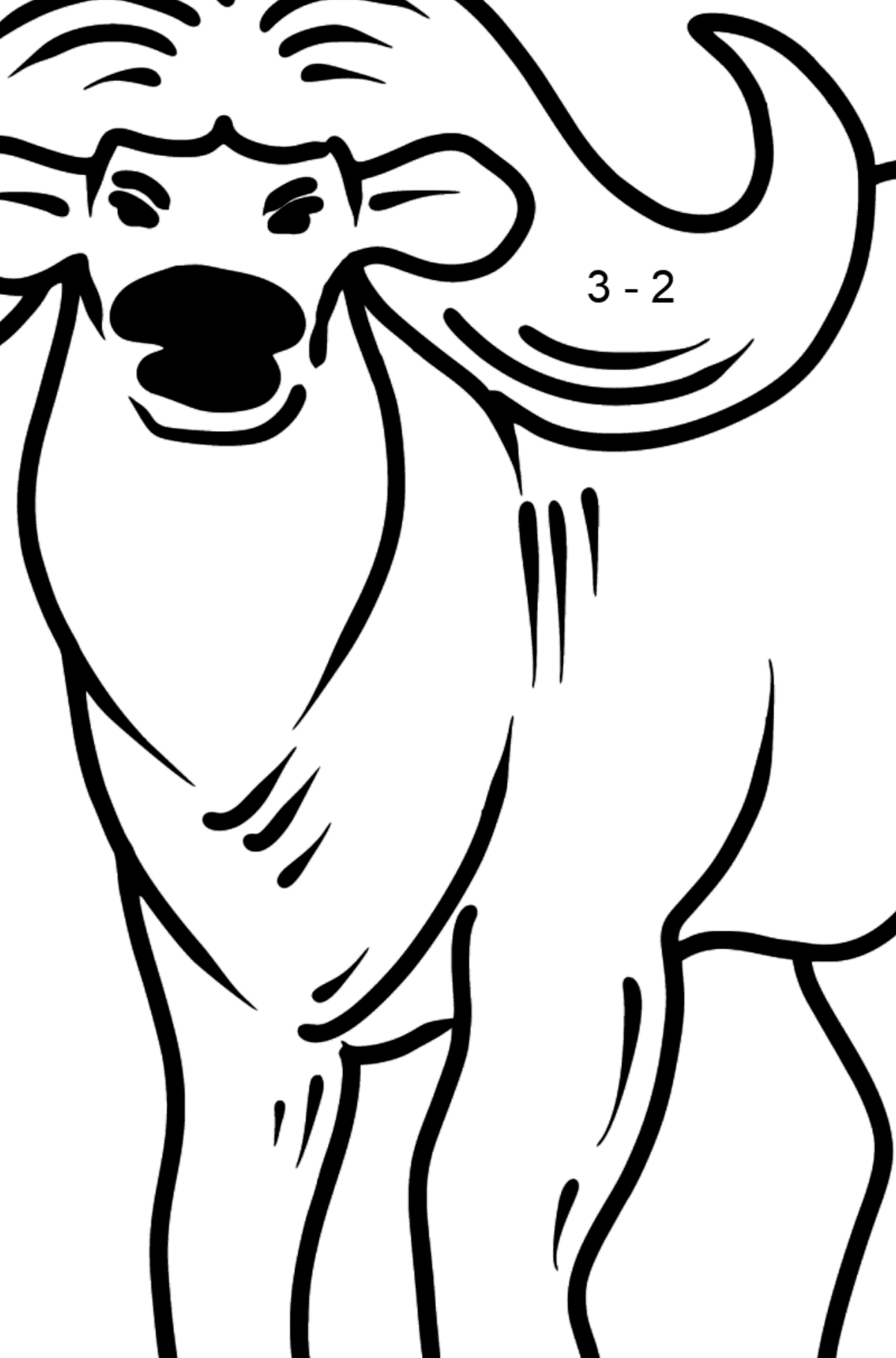 Buffalo coloring page - Math Coloring - Subtraction for Kids