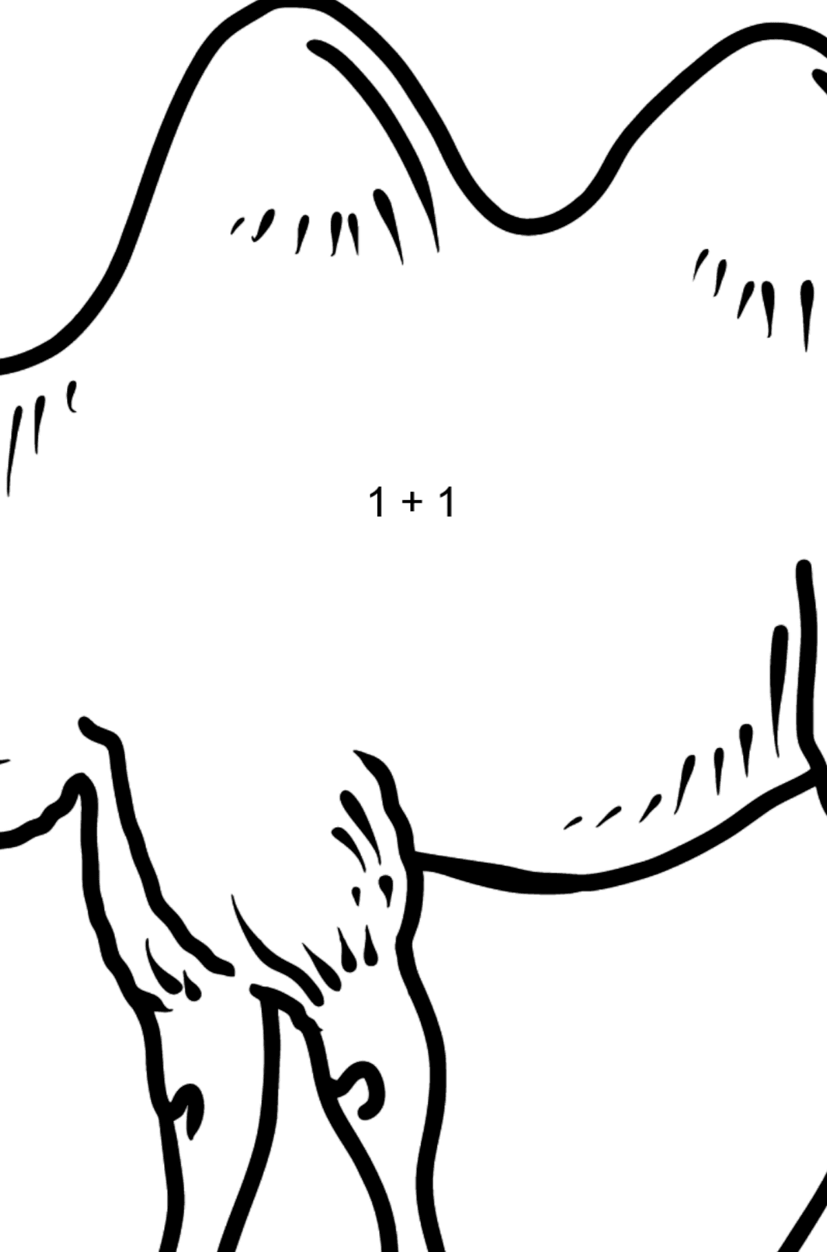 Camel coloring page - Math Coloring - Addition for Kids