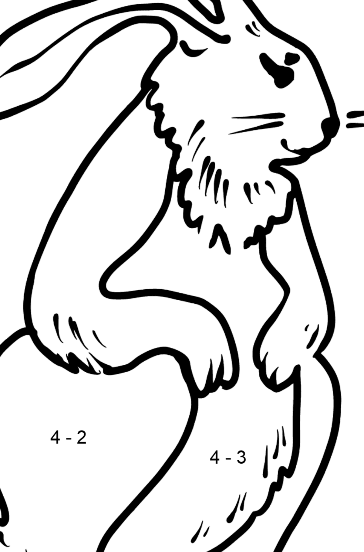 Rabbit coloring page - Math Coloring - Subtraction for Kids