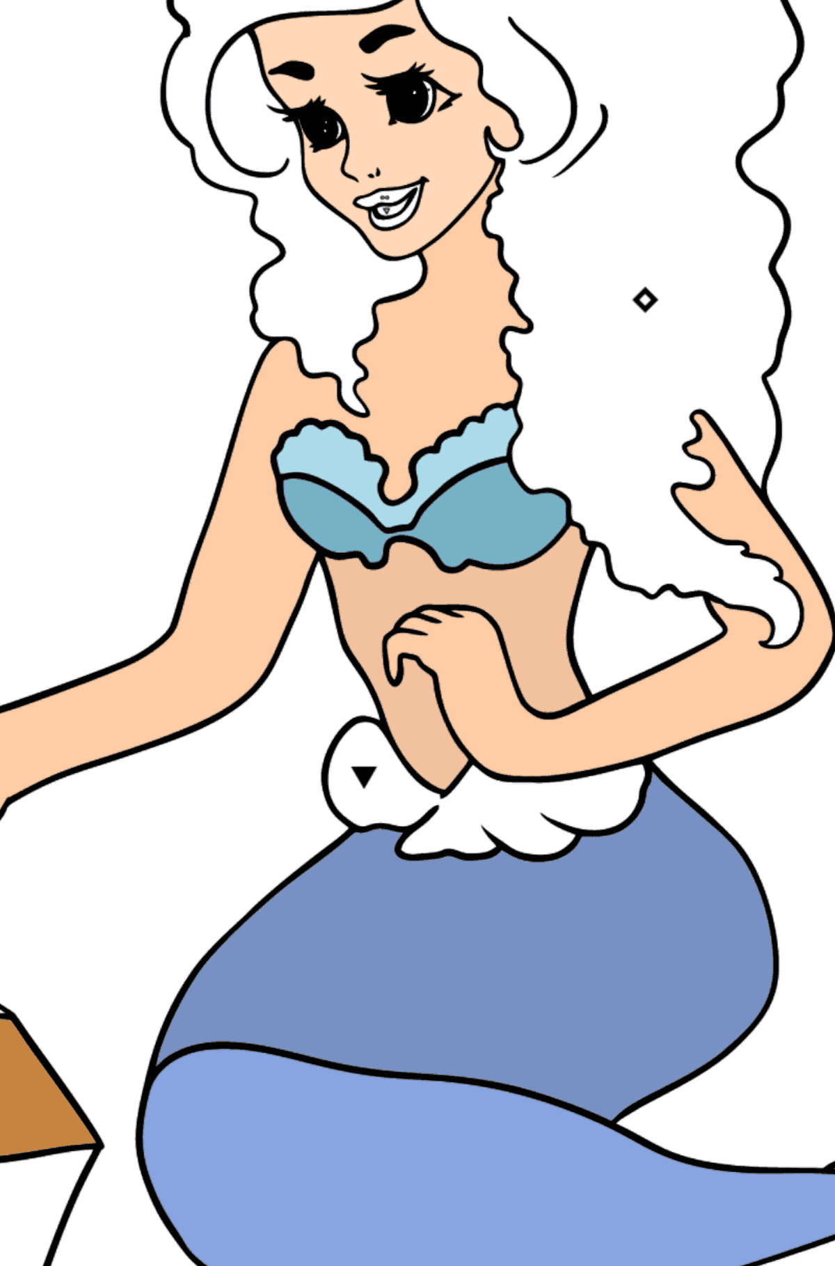 Coloring Page Mermaid and Chest - Coloring by Symbols for Kids