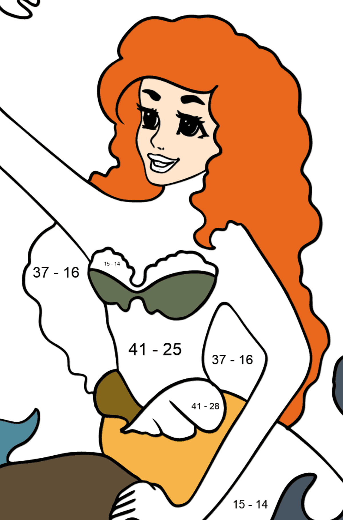 Coloring Page Mermaid and Crab - Math Coloring - Subtraction for Kids
