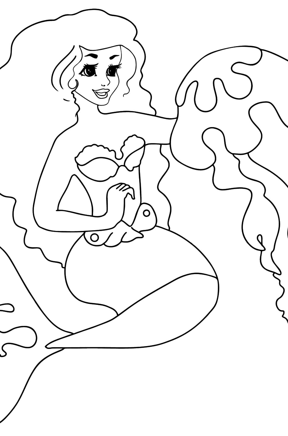 Coloring Page Mermaid and Medusa - Coloring Pages for Kids