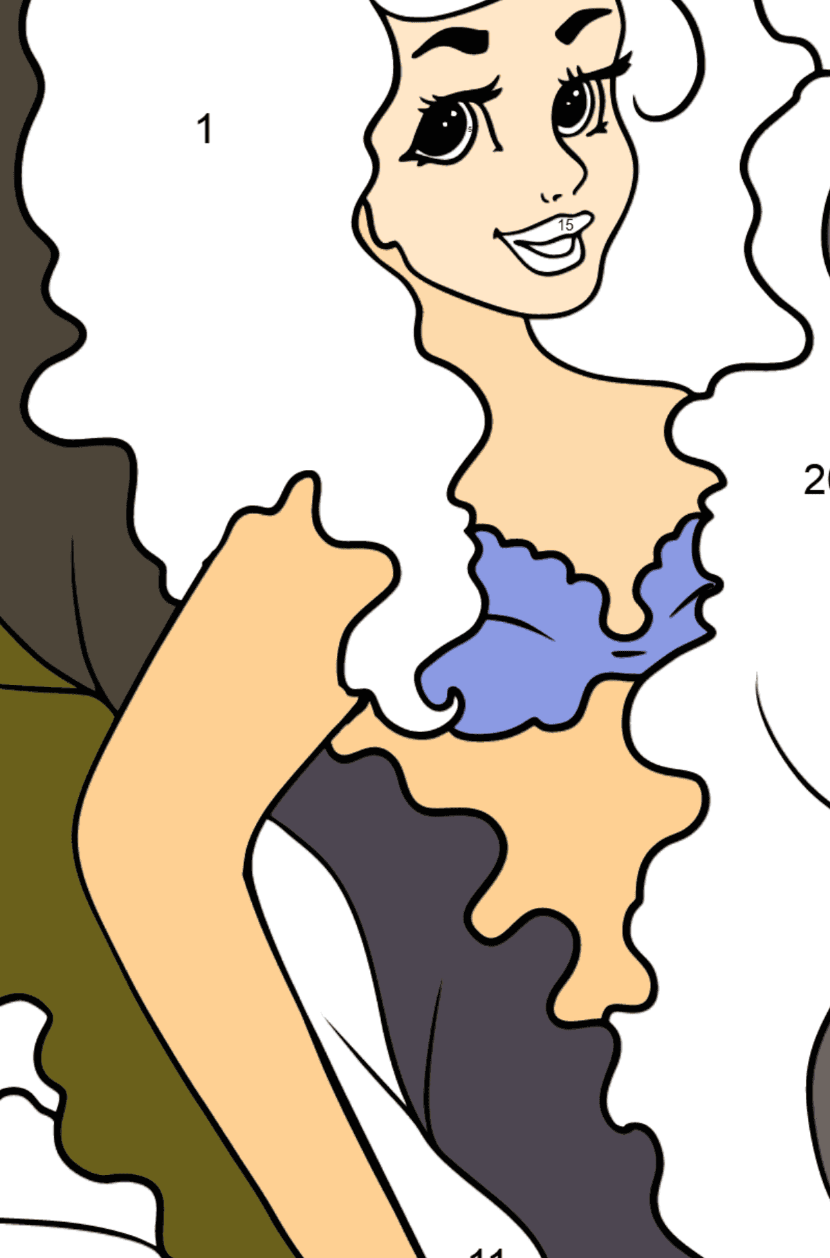 Coloring Page Mermaid and starfish - Coloring by Numbers for Kids