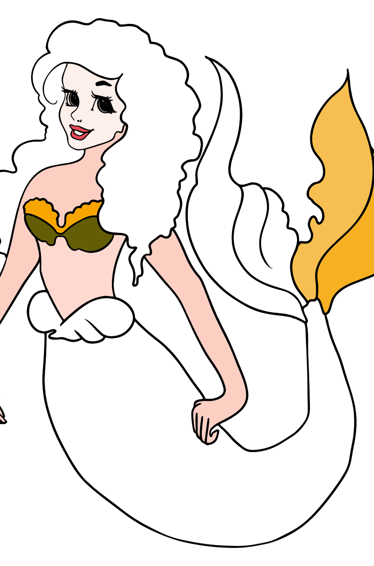 Coloring Page Mermaid with green tail - Coloring Pages for Kids