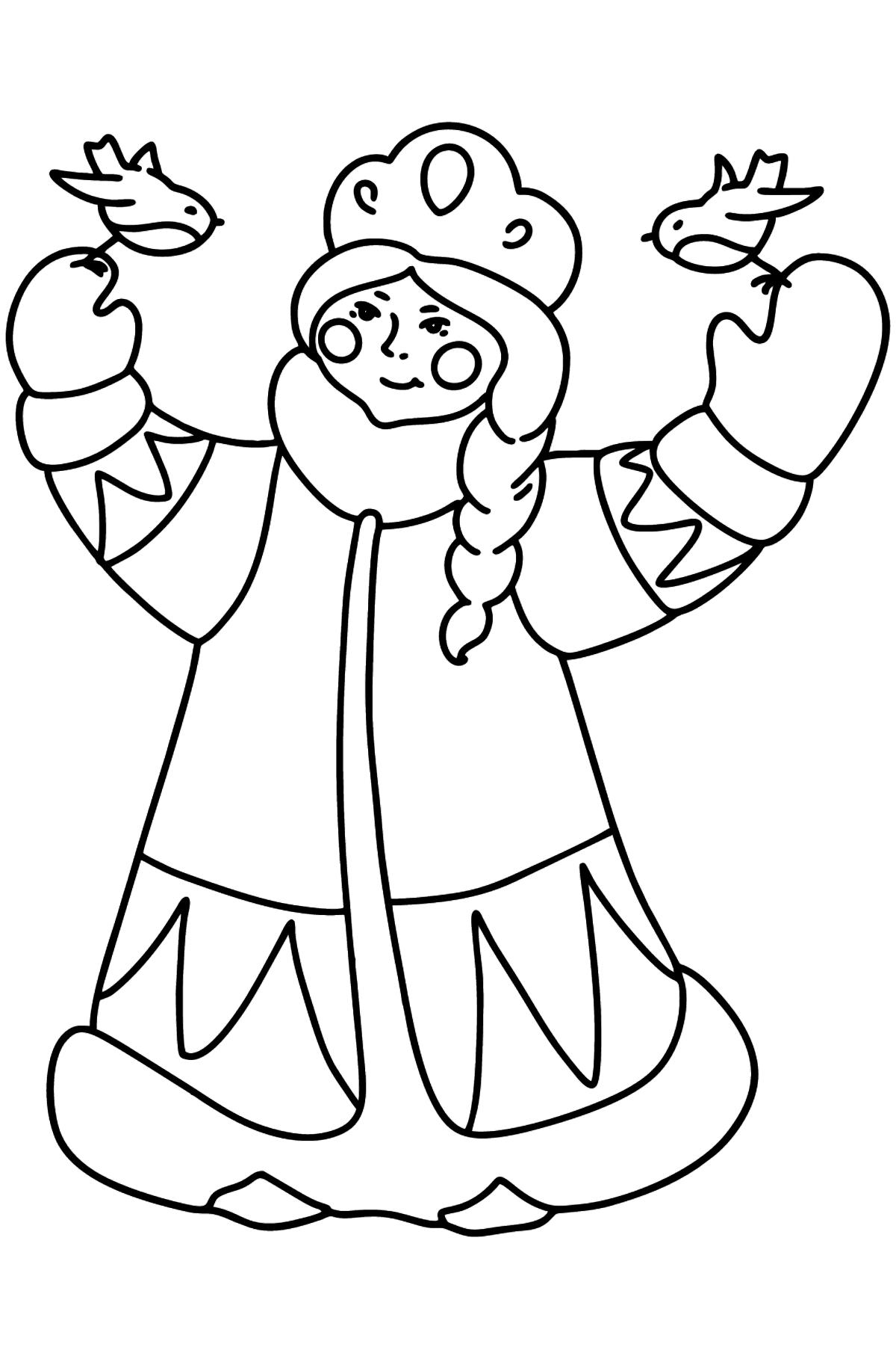 Snow maiden with birds coloring page - Coloring Pages for Kids