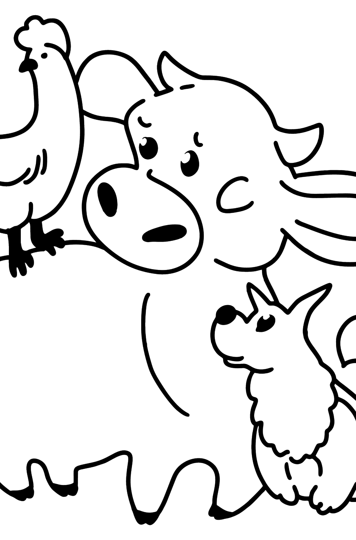 Coloring page: calf, chicken, and dog - Coloring Pages for Kids