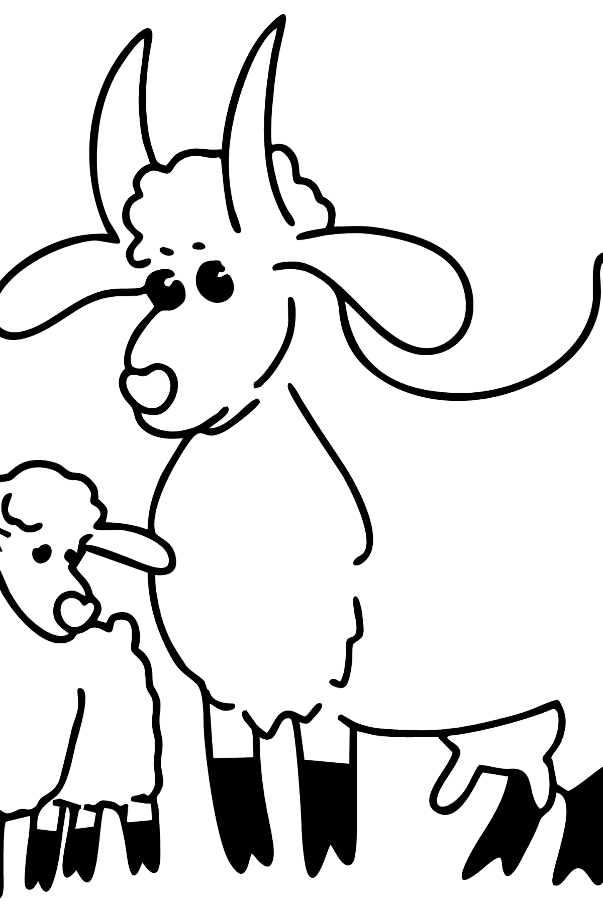 Goat and Kid coloring page - Coloring Pages for Kids