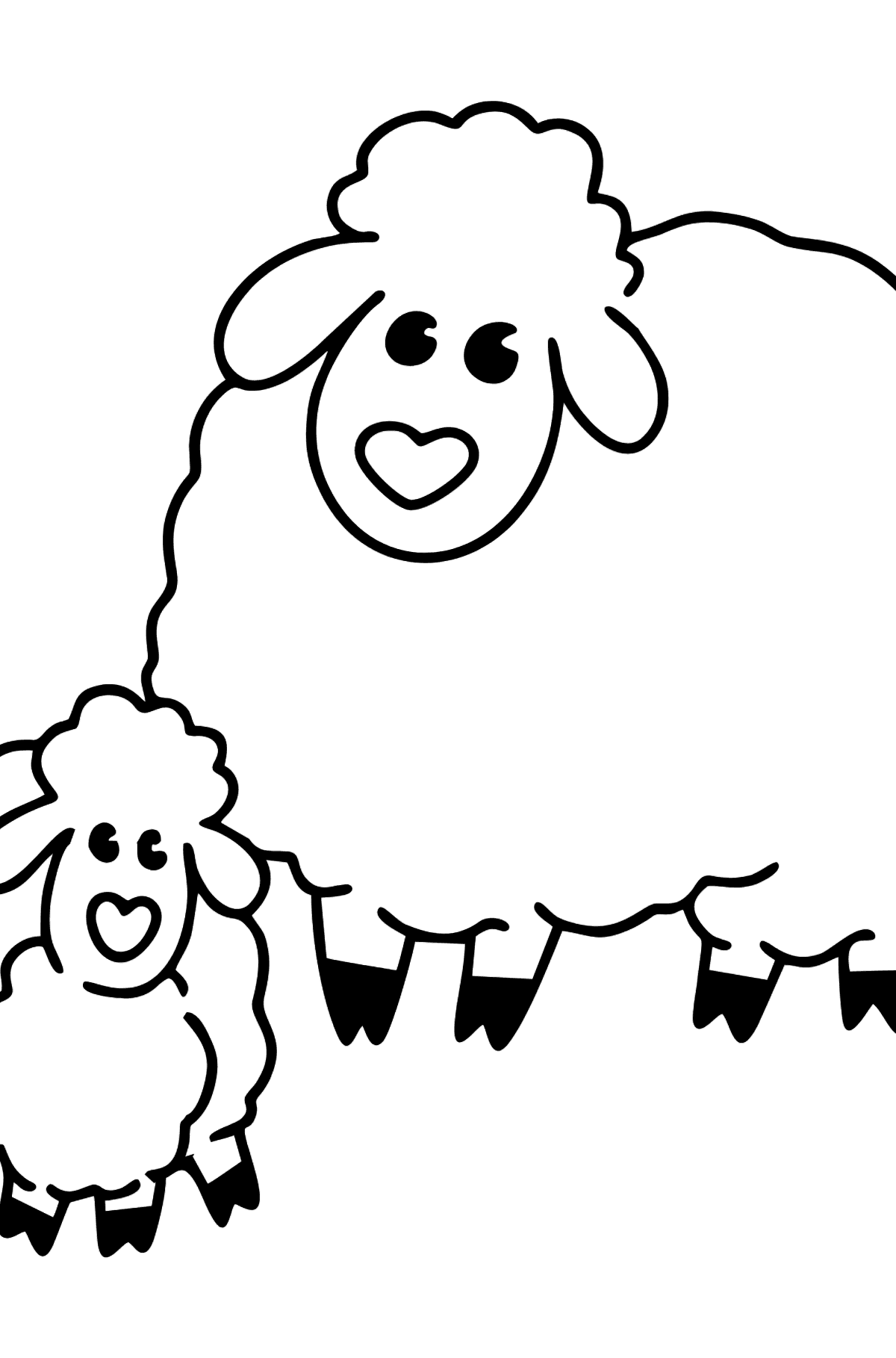 Sheep with Lamb coloring page - Coloring Pages for Kids
