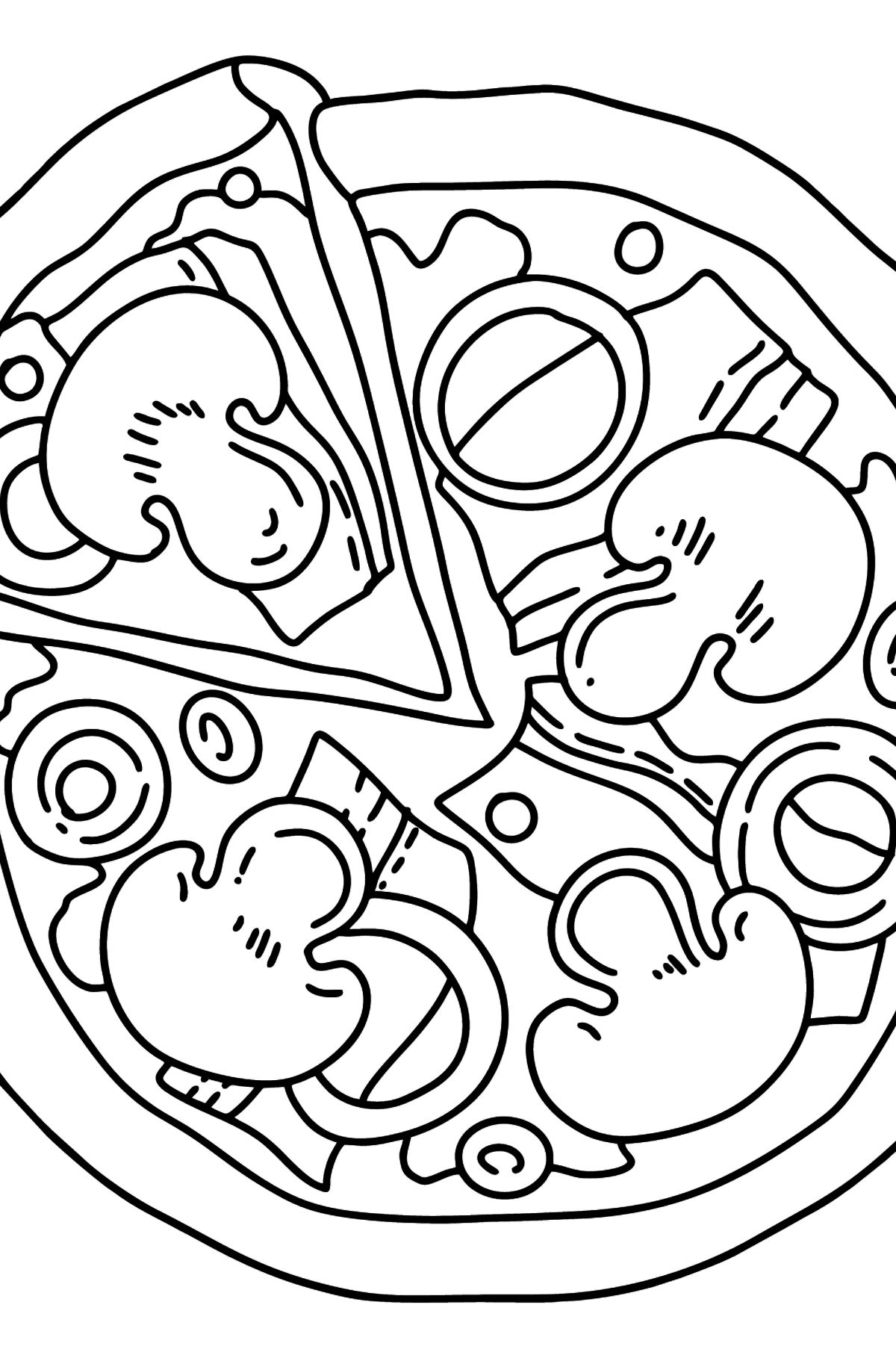 Pizza with Mushrooms coloring page - Coloring Pages for Kids
