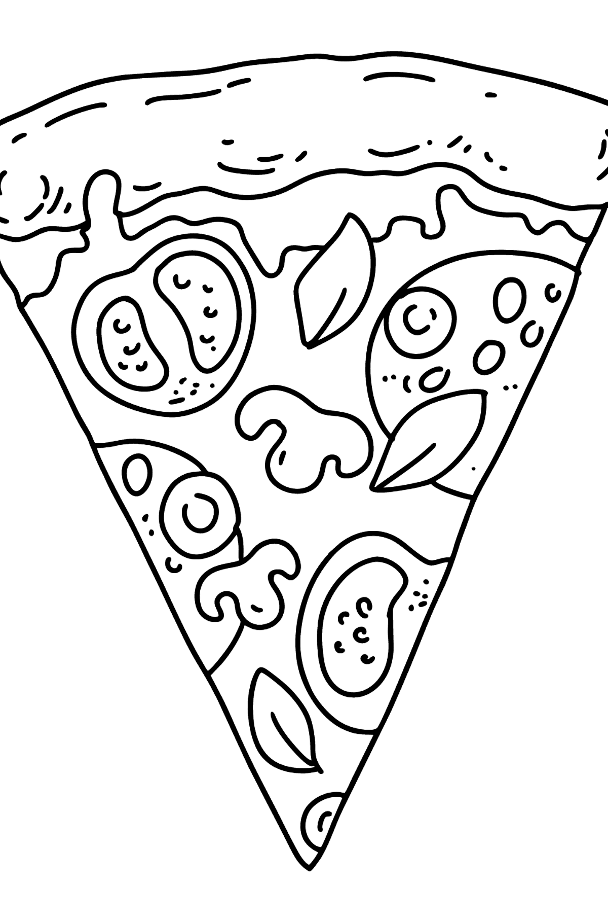 Pizza with Tomatoes and Mushrooms coloring page - Coloring Pages for Kids