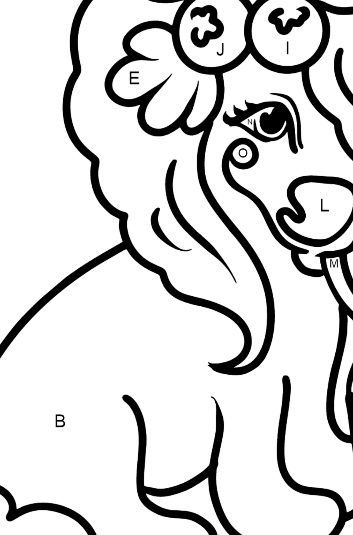 Holly Pony coloring page - Coloring by Letters for Kids