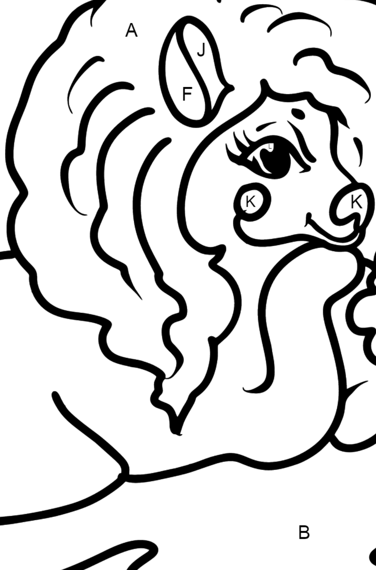 Pony is Resting coloring page - Coloring by Letters for Kids