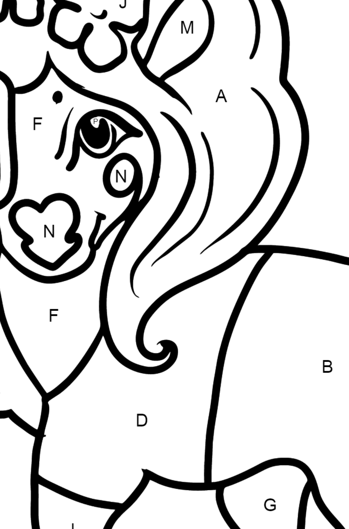 Pony Photographer coloring page - Coloring by Letters for Kids
