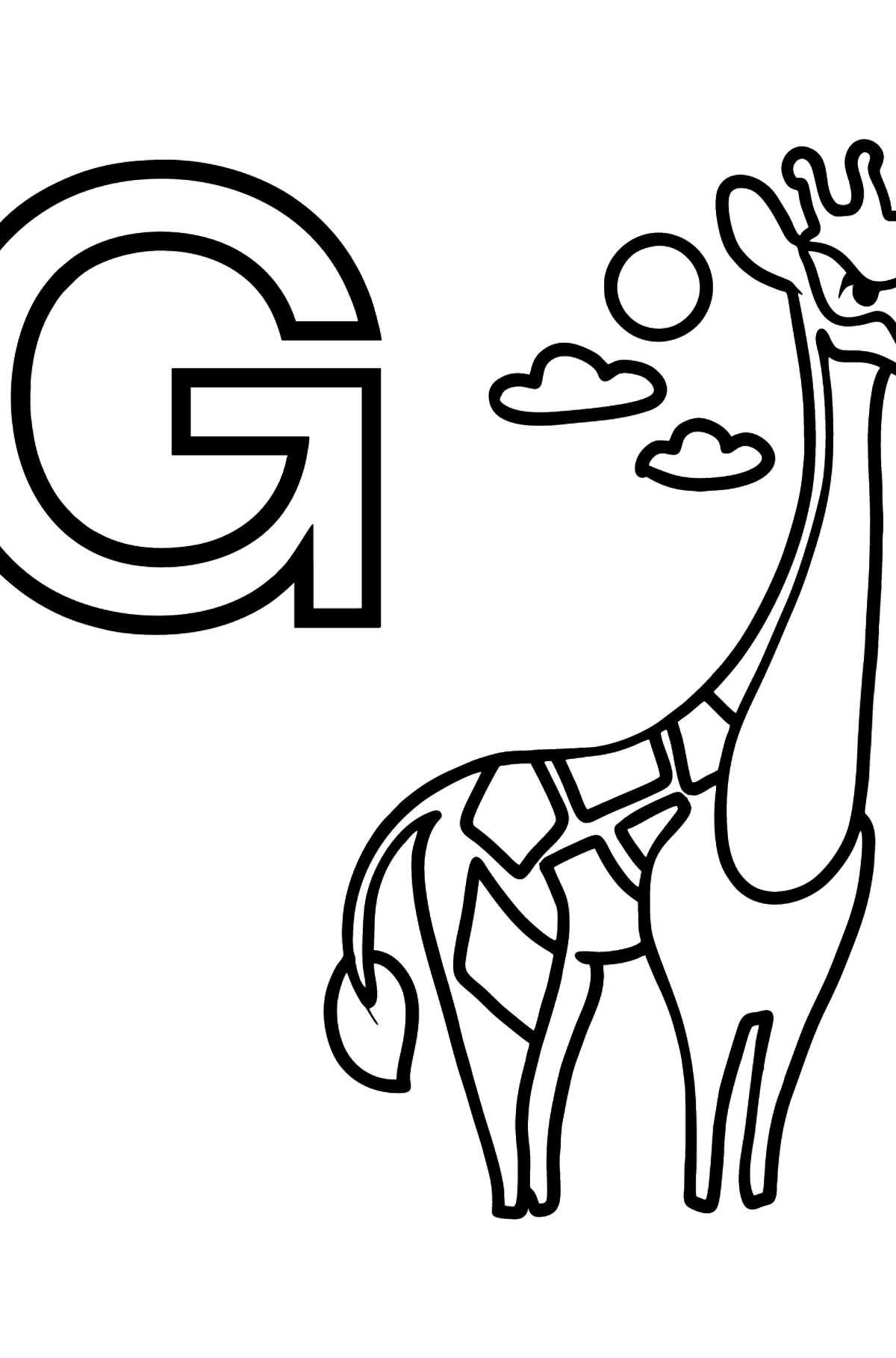 Portuguese Letter G coloring pages - GIRAFA - Coloring Pages for Kids