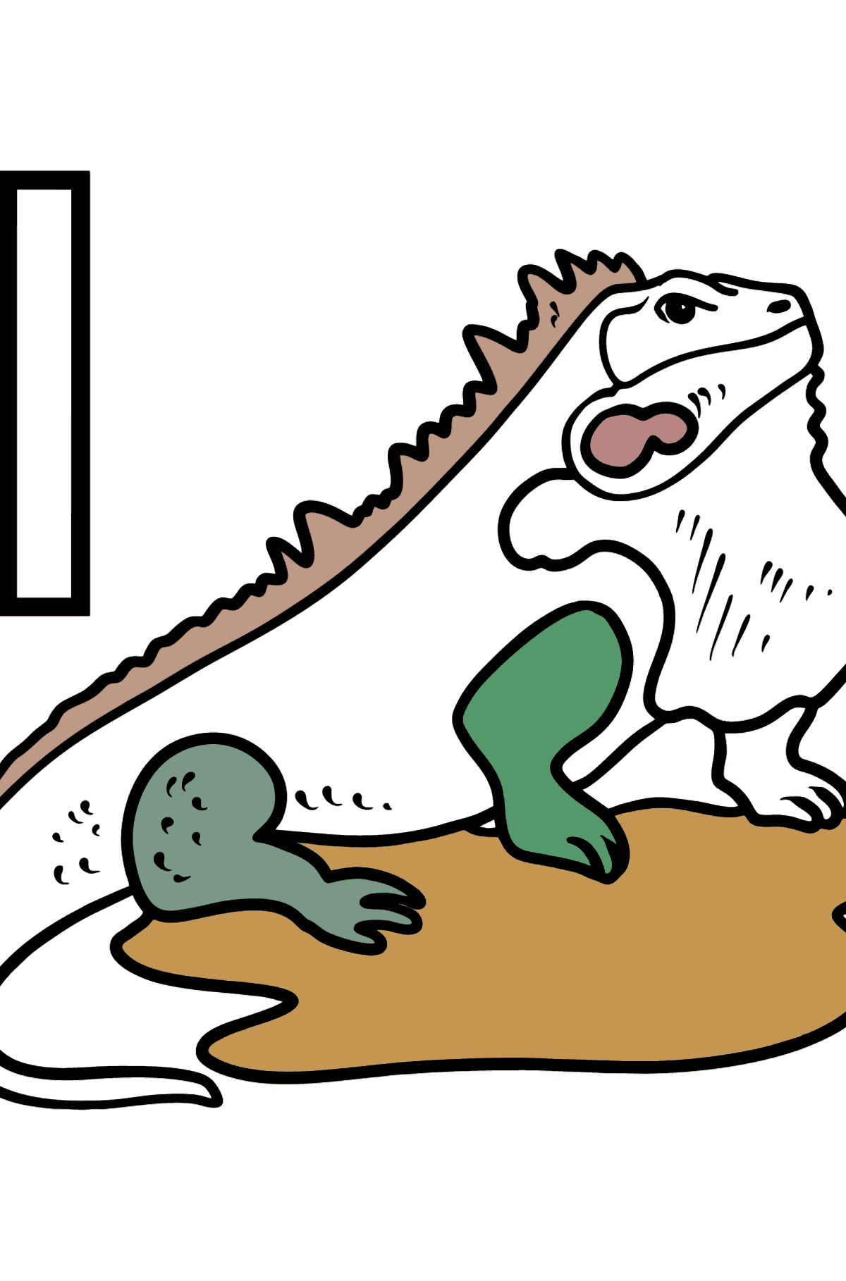 Portuguese Letter I coloring pages - IGUANA - Coloring Pages for Kids