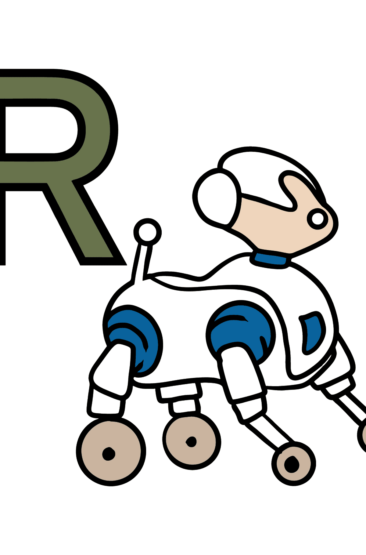 Portuguese Letter R coloring pages - ROBÔ - Coloring Pages for Kids