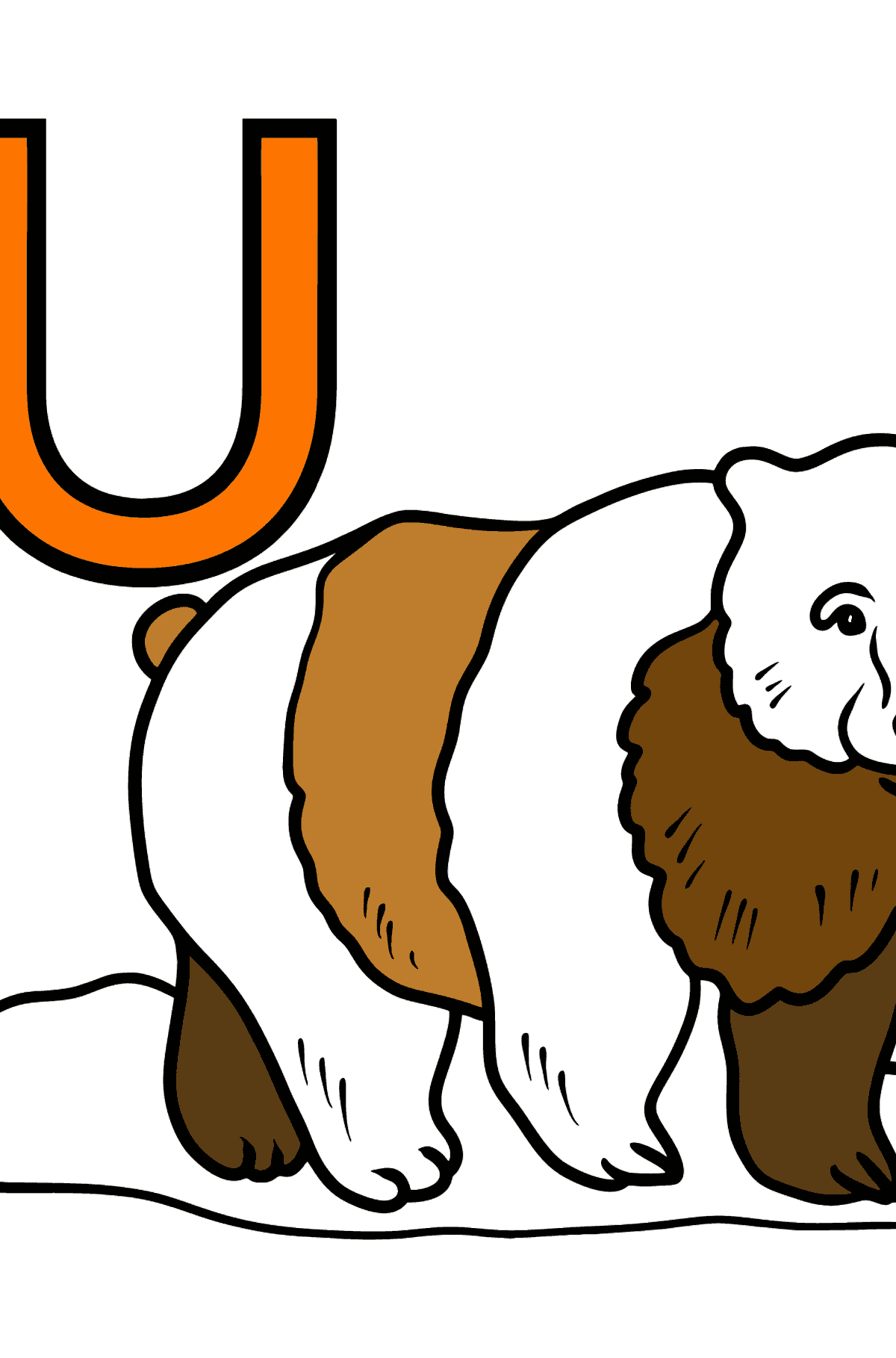 Portuguese Letter U coloring pages - URSO - Coloring Pages for Kids