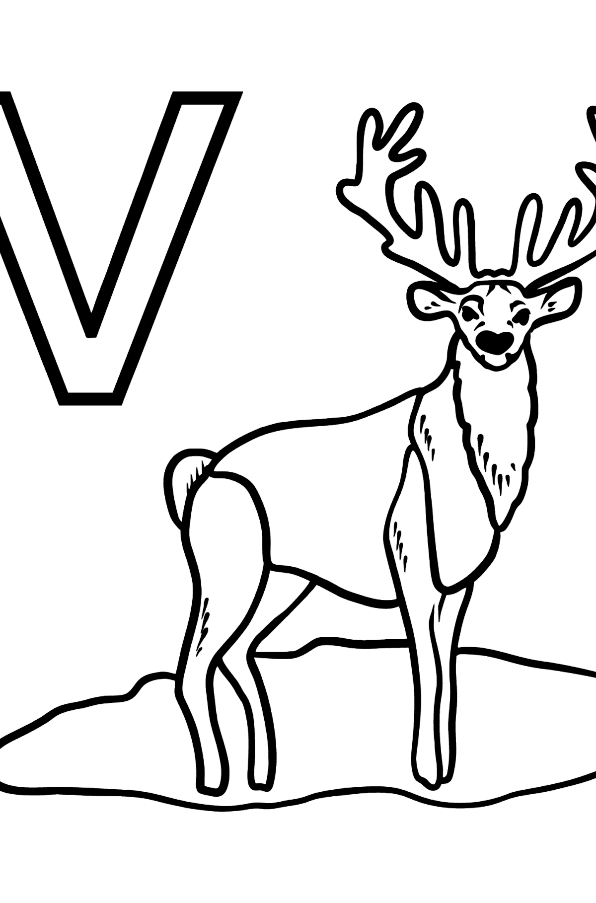Portuguese Letter V coloring pages - VEADO - Coloring Pages for Kids