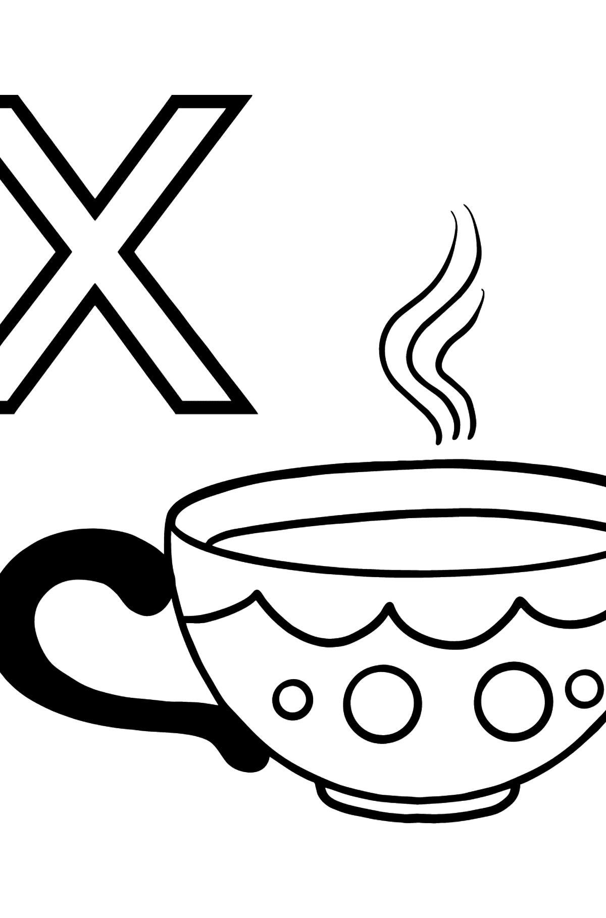 Portuguese Letter X coloring pages - XÍCARA - Coloring Pages for Kids