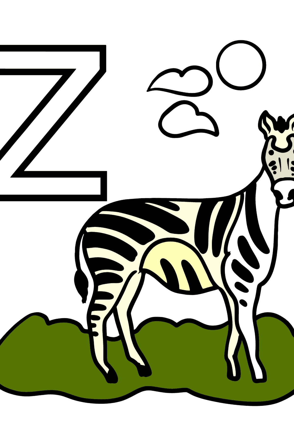 Portuguese Letter Z coloring pages - ZEBRA - Coloring Pages for Kids