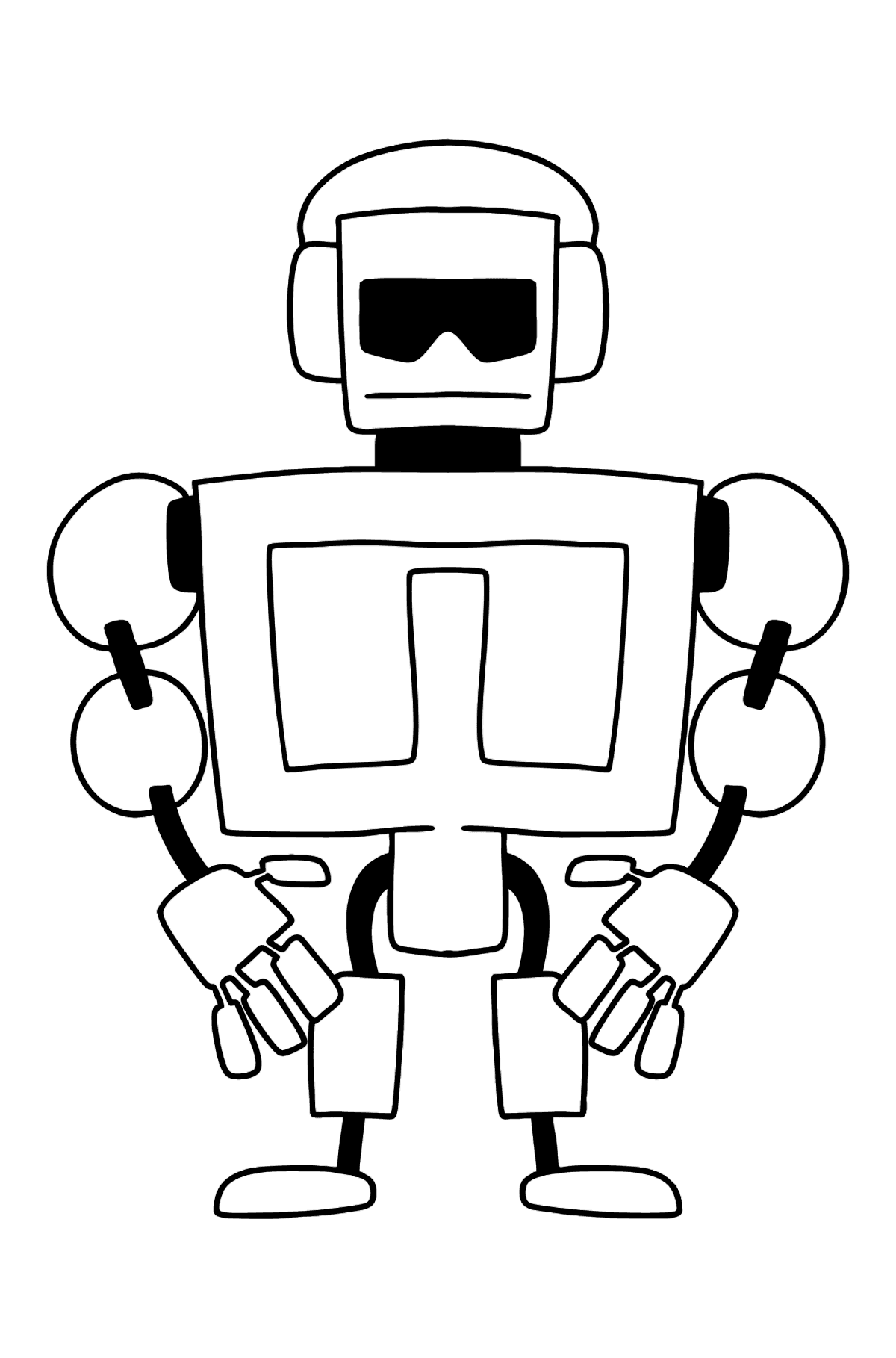 Robot Bodybuilder coloring page - Coloring Pages for Kids