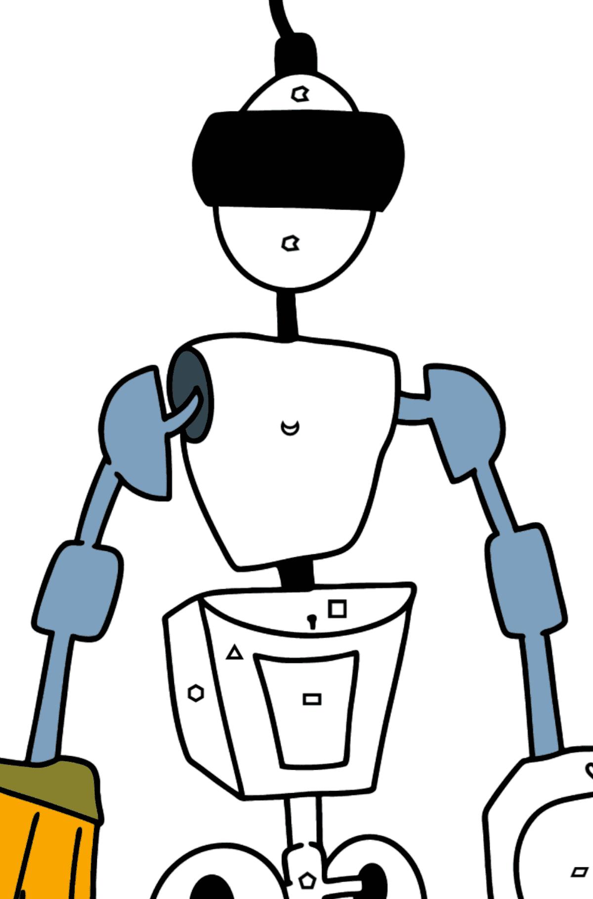 Раскраска робот уборщик - Раскраска по Геометрическим Фигурам для Детей