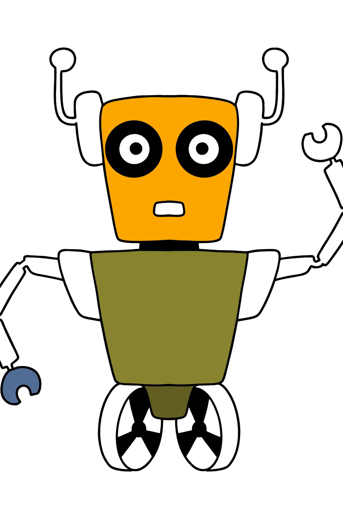 Раскраска робот на колёсиках - Раскраски для Детей