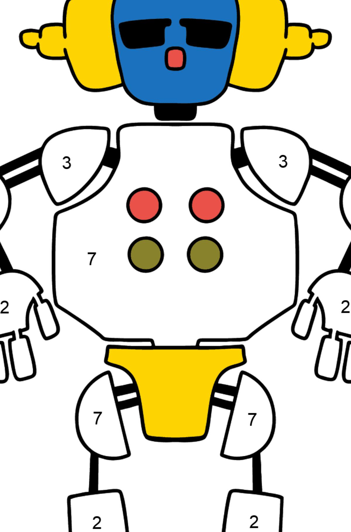 Раскраска робот в наушниках - Раскраска по Номерам для Детей