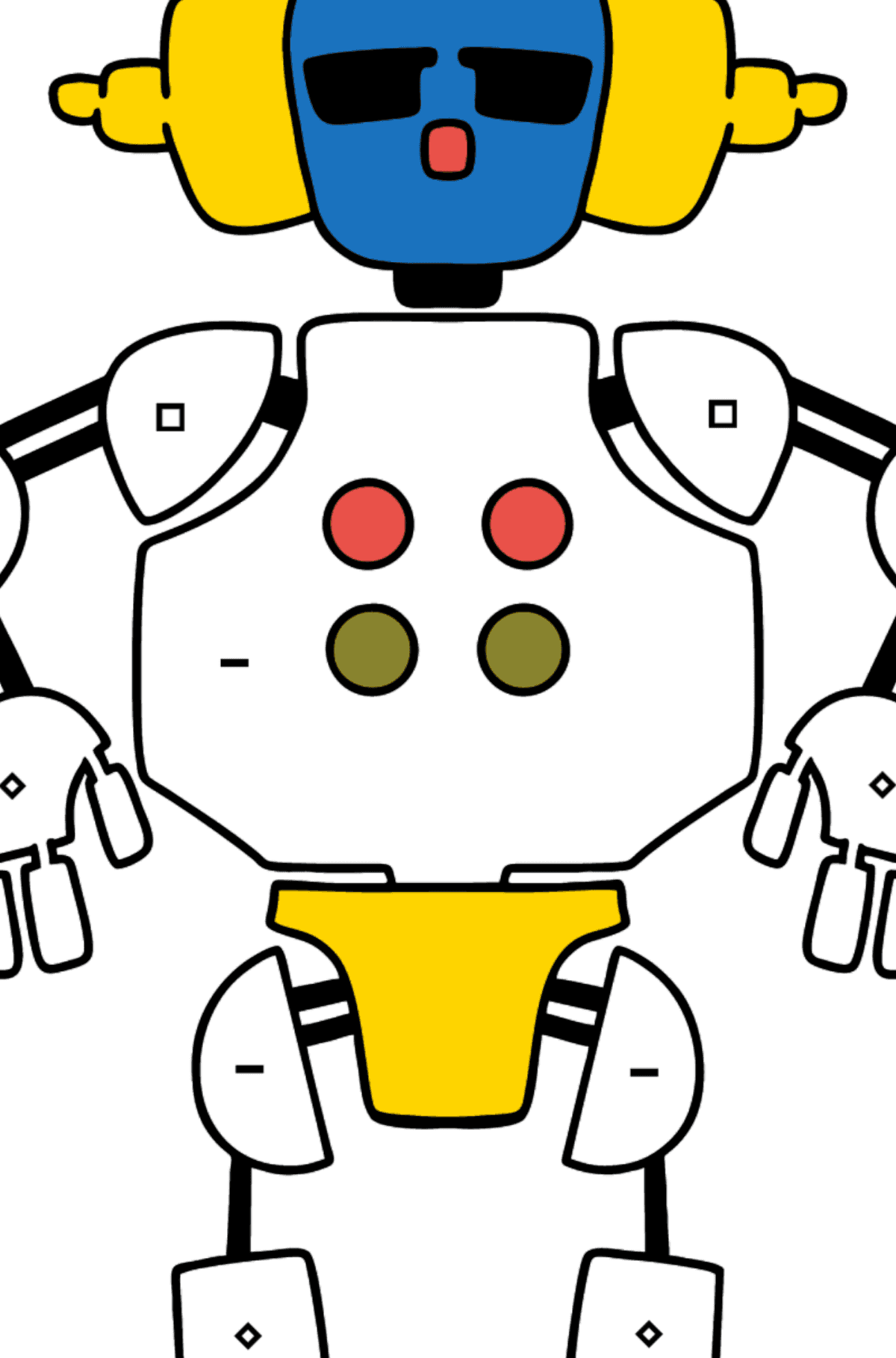 Раскраска робот в наушниках - Раскраска по Символам для Детей