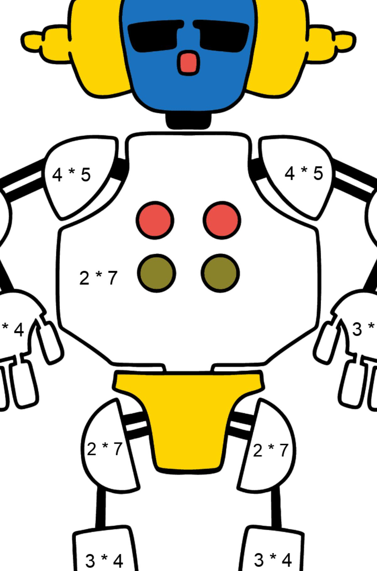 Раскраска робот в наушниках - Математическая Раскраска - Умножение для Детей