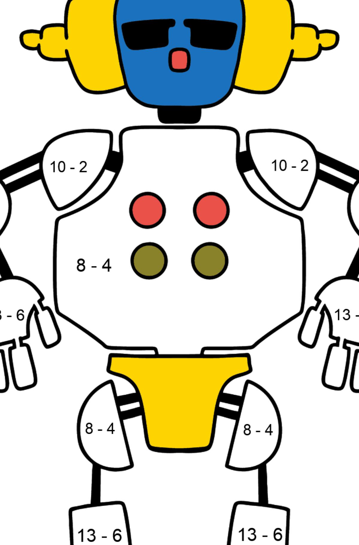 Раскраска робот в наушниках - Математическая Раскраска - Вычитание для Детей