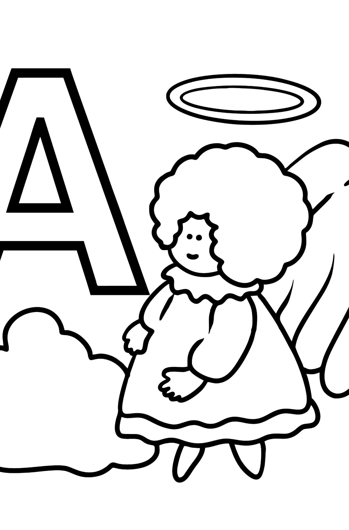 Раскраска Русская буква А - Ангел - Картинки для Детей